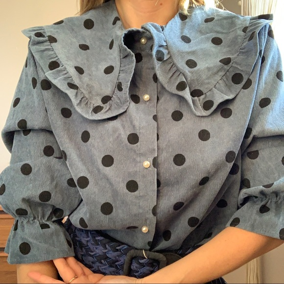 Frilly Prairie Collar Polka Dot Cottagecore Blouse